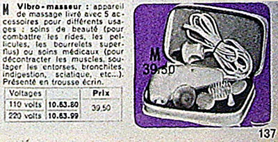 Vibromasseur La Redoute 1967